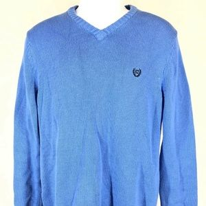 Chaps v neck pullover sweater small blue